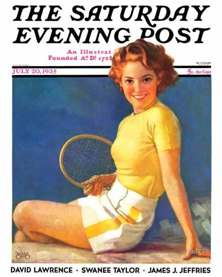 Walt Otto Saturday Evening Post Tennis Time-Out 1935_07_20 | The Saturday Evening Post Graphic Art Covers 1931-1969