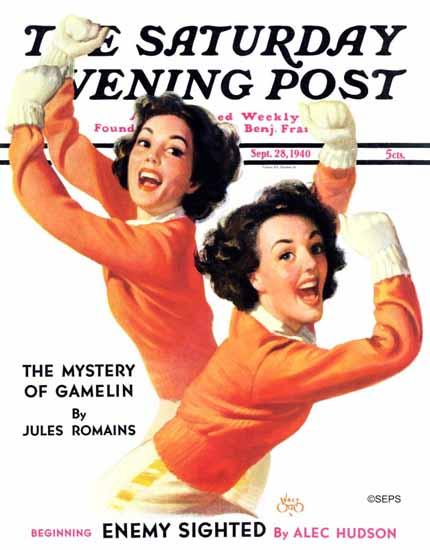 Walt Otto Saturday Evening Post Twin Cheerleaders 1940_09_28 | The Saturday Evening Post Graphic Art Covers 1931-1969