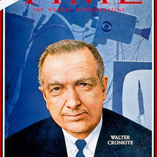 Walter Cronkite Time Magazine 1966-10 by Robert Vickrey crop | Best of Vintage Cover Art 1900-1970