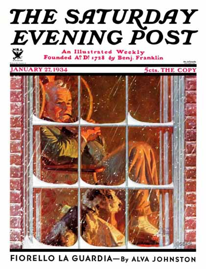 Walter Humphrey Saturday Evening Post By the Fire 1934_01_27 | The Saturday Evening Post Graphic Art Covers 1931-1969
