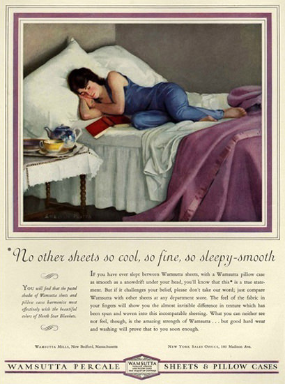 Wamsutta Percale Sheets Pillows  Sleeping Girl | Sex Appeal Vintage Ads and Covers 1891-1970