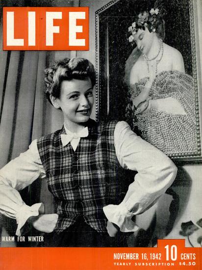 Warm for Winter 16 Nov 1942 Copyright Life Magazine   Life Magazine BW Photo Covers 1936-1970
