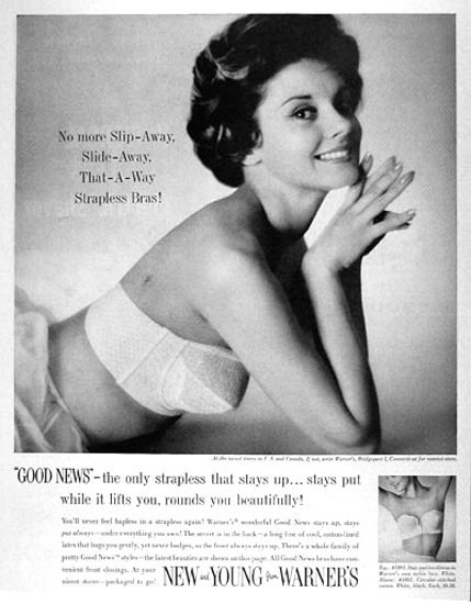 Warner Bra 1958 No More Slip-Away | Sex Appeal Vintage Ads and Covers 1891-1970