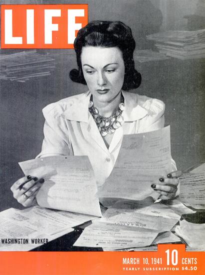 Washington Worker 10 Mar 1941 Copyright Life Magazine | Life Magazine BW Photo Covers 1936-1970