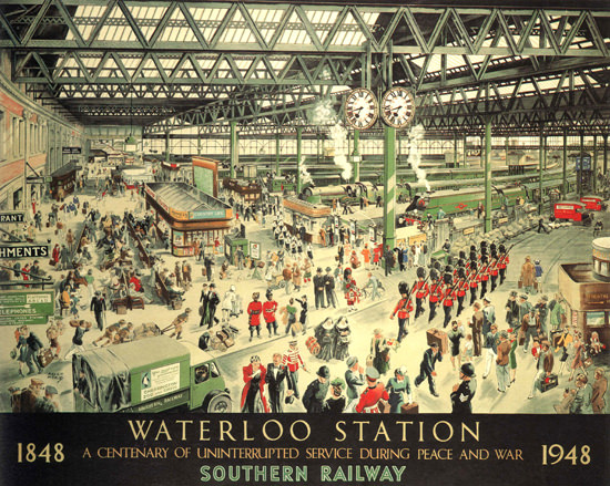Waterloo Station London 1948 Southern Railway by Helen McKie | Vintage Travel Posters 1891-1970