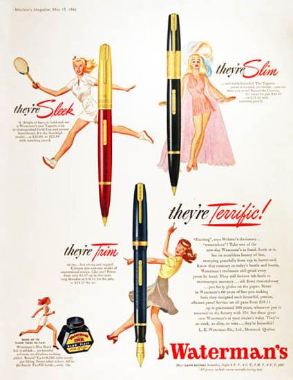Watermans 1946 Pen Girls Slim Sleek Trim Terrific | Sex Appeal Vintage Ads and Covers 1891-1970