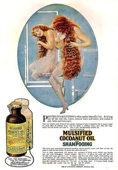Watkins Mulsified Cocoanut Oil Shampoo 1919 | Sex Appeal Vintage Ads and Covers 1891-1970