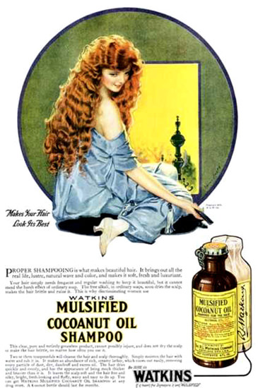 Watkins Mulsified Cocoanut Oil Shampoo 1920 | Sex Appeal Vintage Ads and Covers 1891-1970