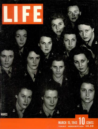 Waves 15 Mar 1943 Copyright Life Magazine | Life Magazine BW Photo Covers 1936-1970