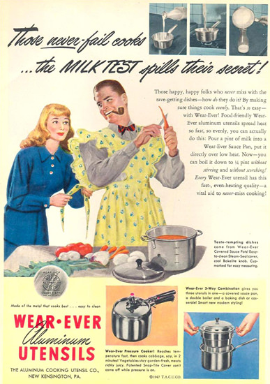 Wear Ever Aluminum Utensils 1947 Kitchen Man | Sex Appeal Vintage Ads and Covers 1891-1970