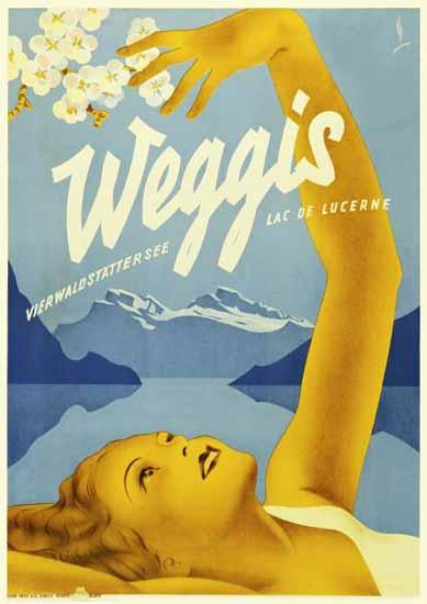 Weggis Vierwaldstaettersee Lac Lucerne Switzerland 1930 | Vintage Travel Posters 1891-1970