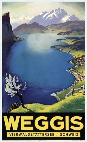 Weggis Vierwaldstaettersee Schweiz Switzerland 1938   Vintage Travel Posters 1891-1970