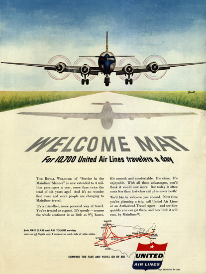 Welcome Mat 10700 United Air Travelers 1953 | Vintage Travel Posters 1891-1970