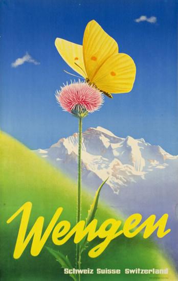 Wengen Switzerland  1950s Swiss Alps | Vintage Travel Posters 1891-1970