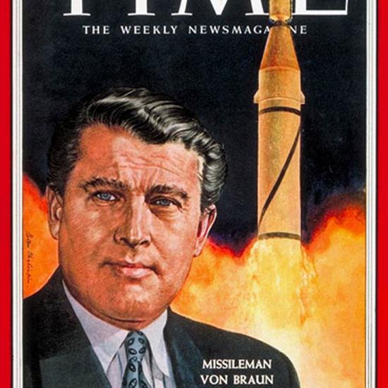Wernher von Braun Time Magazine 1958-02 by Boris Chaliapin crop   Best of Vintage Cover Art 1900-1970
