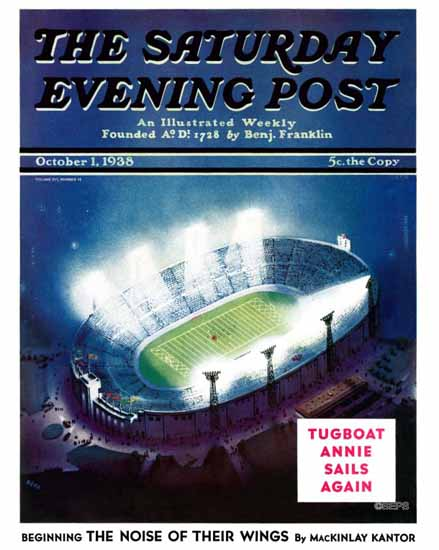 Wesley Neff Saturday Evening Post Football Stadium at Night 1938_10_01 | The Saturday Evening Post Graphic Art Covers 1931-1969
