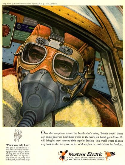 Western Electric Fighter Pilot 1943 | Vintage War Propaganda Posters 1891-1970