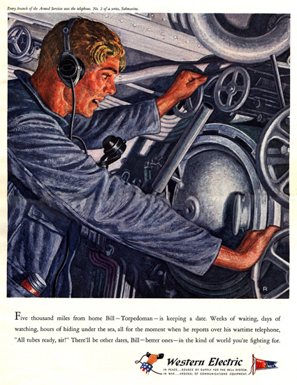 Western Electric Five Thousand Miles Home 1943 | Vintage War Propaganda Posters 1891-1970