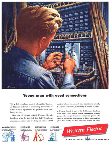 Western Electric Good Connections 1949   Vintage Ad and Cover Art 1891-1970
