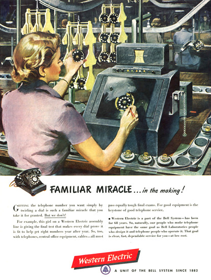 Western Electric Telephone Familiar Miracle   Vintage Ad and Cover Art 1891-1970