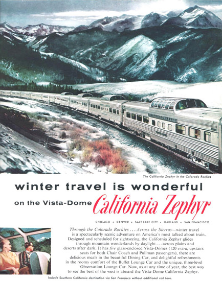 Western Pacific California Zephyr Dome 1958 | Vintage Travel Posters 1891-1970