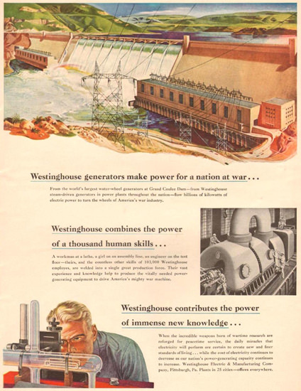 Westinghouse Generators Power 1943 | Vintage Ad and Cover Art 1891-1970