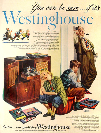 Westinghouse Radio-Phonograph ABC Network | Vintage Ad and Cover Art 1891-1970