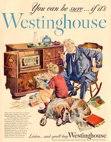 Westinghouse Radio Ted Malone ABC 1948 | Vintage Ad and Cover Art 1891-1970