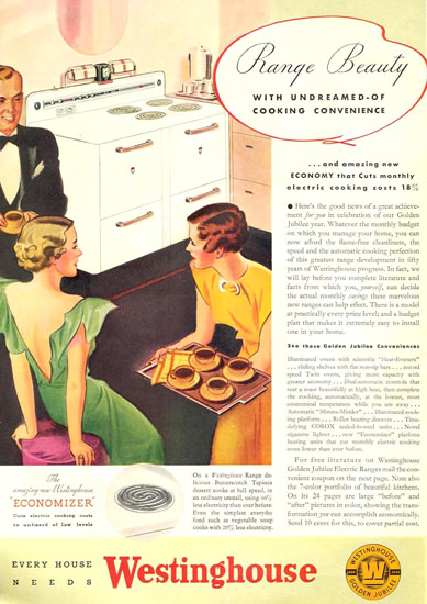 Westinghouse Range Beauty Stove 1936 | Vintage Ad and Cover Art 1891-1970