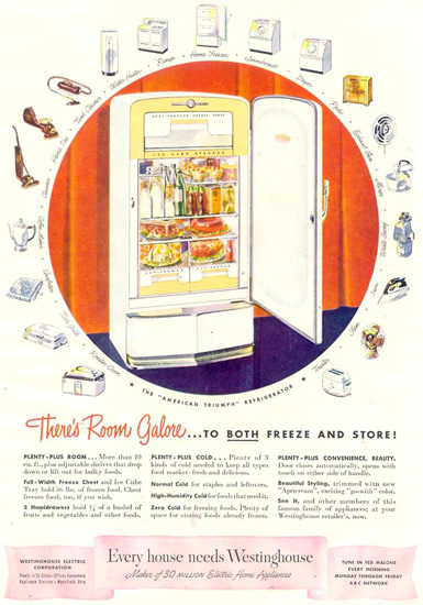 Westinghouse Refrigerator Fridge 1948 | Vintage Ad and Cover Art 1891-1970