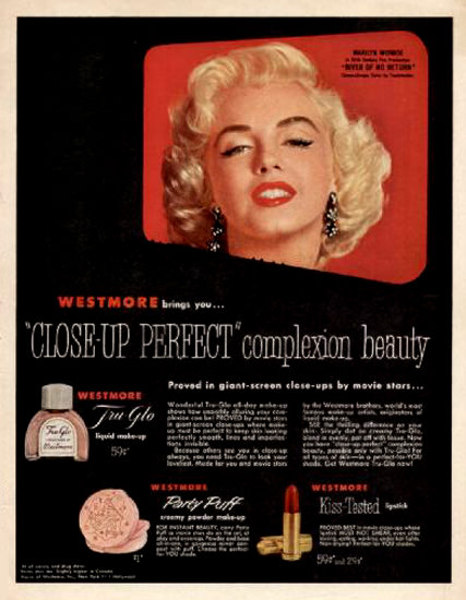 Westmore Close-Up Perfect Marilyn Monroe 1954 | Sex Appeal Vintage Ads and Covers 1891-1970