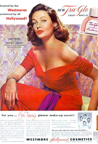 Westmore Hollywood Cosmetics Gene Tierney | Sex Appeal Vintage Ads and Covers 1891-1970