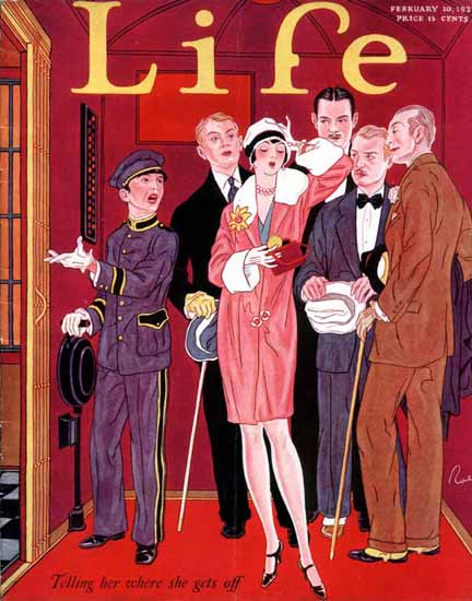 Where she gets off Life Humor Magazine 1927-02-10 Copyright | Life Magazine Graphic Art Covers 1891-1936