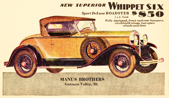 Whippet Six Sport DeLuxe Roadster 1929 | Vintage Cars 1891-1970