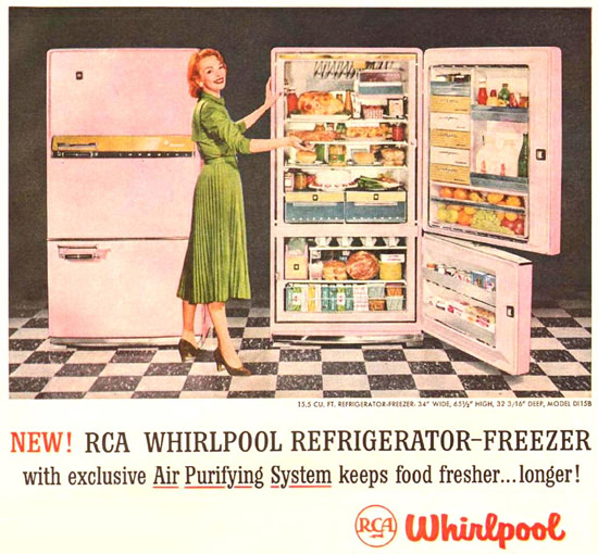 Whirlpool Refrigerator-Freezer Air Purifying 1957 | Vintage Ad and Cover Art 1891-1970