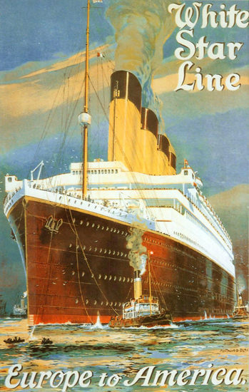 White Star Line Europe To America 1910s | Vintage Travel Posters 1891-1970