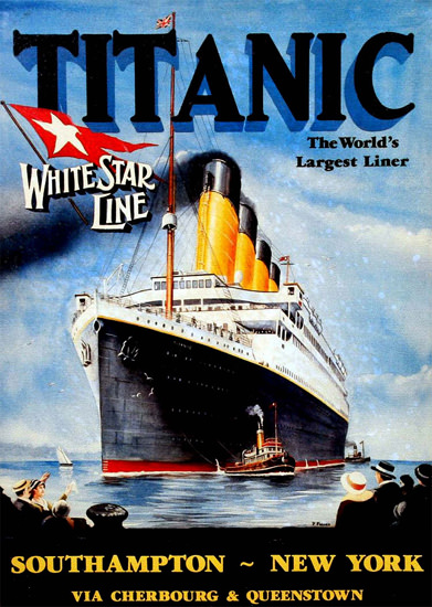 White Star Line Titanic First Trip 1912 | Vintage Travel Posters 1891-1970