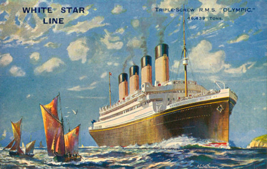 White Star Line Triple Screw RMS Olympic 1910s | Vintage Travel Posters 1891-1970