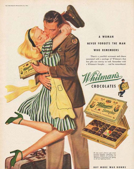Whitemans Chocolate Kiss Woman Never Forgets | Sex Appeal Vintage Ads and Covers 1891-1970