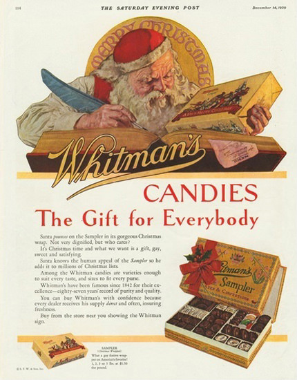 Whitmans Candies The Gift For Everybody Santa | Vintage Ad and Cover Art 1891-1970