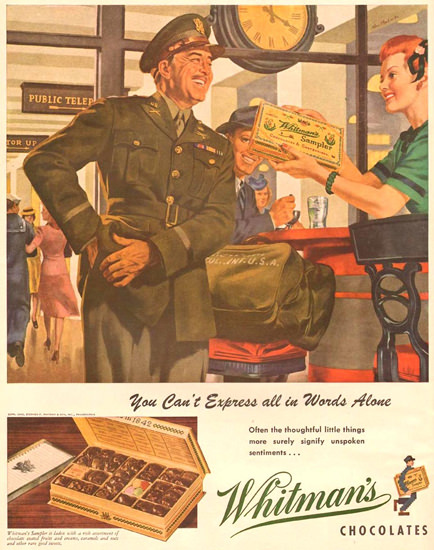 Whitmans Chocolates 1943 | Vintage Ad and Cover Art 1891-1970