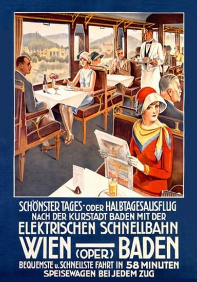 Wien Oper Baden Elektrische Schnellbahn | Vintage Travel Posters 1891-1970