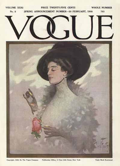 Will Foster Vogue Cover 1908-02-20 Copyright | Vogue Magazine Graphic Art Covers 1902-1958