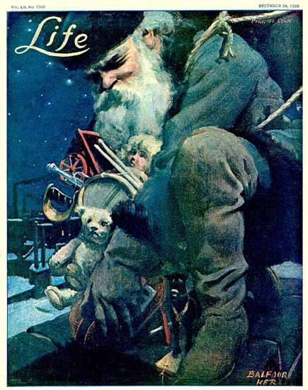 William Balfour Ker Life Humor Magazine 1908-12-24 Copyright | Life Magazine Graphic Art Covers 1891-1936