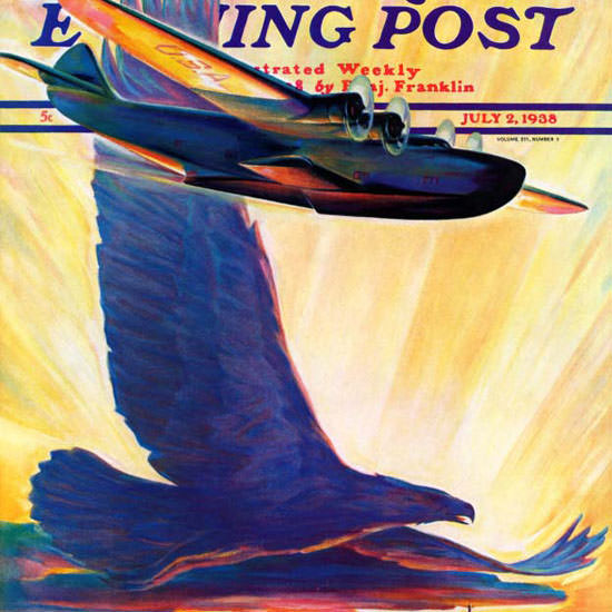 William Heaslip Saturday Evening Post Flight 1938_07_02 Copyright crop | Best of 1930s Ad and Cover Art