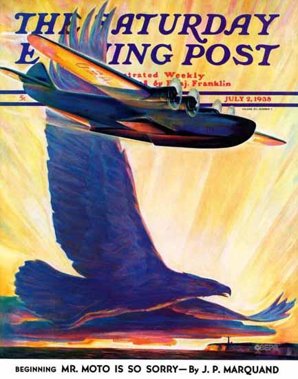 William Heaslip Saturday Evening Post Foreshadowing Flight 1938_07_02 | The Saturday Evening Post Graphic Art Covers 1931-1969