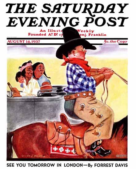 William J Bailey Saturday Evening Post Indians and Dude 1937_08_14 | The Saturday Evening Post Graphic Art Covers 1931-1969