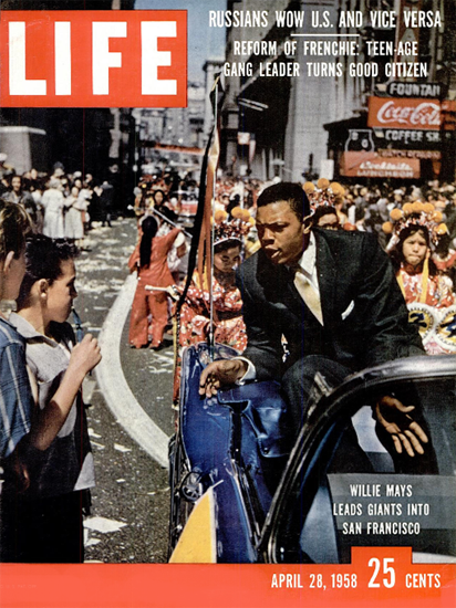 Willie Mays Giants in San Francisco 28 Apr 1958 Copyright Life Magazine | Life Magazine Color Photo Covers 1937-1970