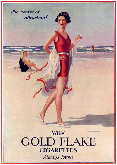 Wills Gold Flake Attraction Beach Girl Cigarettes | Sex Appeal Vintage Ads and Covers 1891-1970