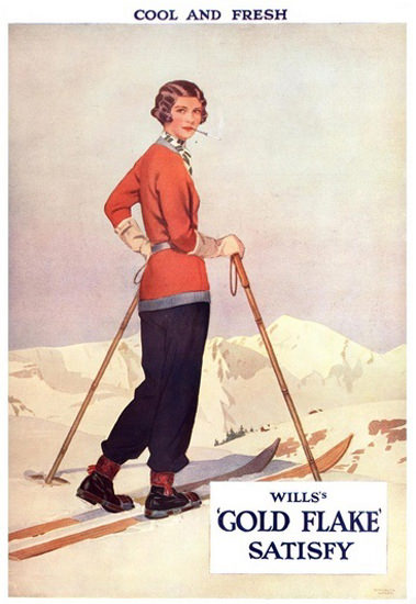 Wills Gold Flake Cigarettes Cool Fresh Skiing Girl | Sex Appeal Vintage Ads and Covers 1891-1970